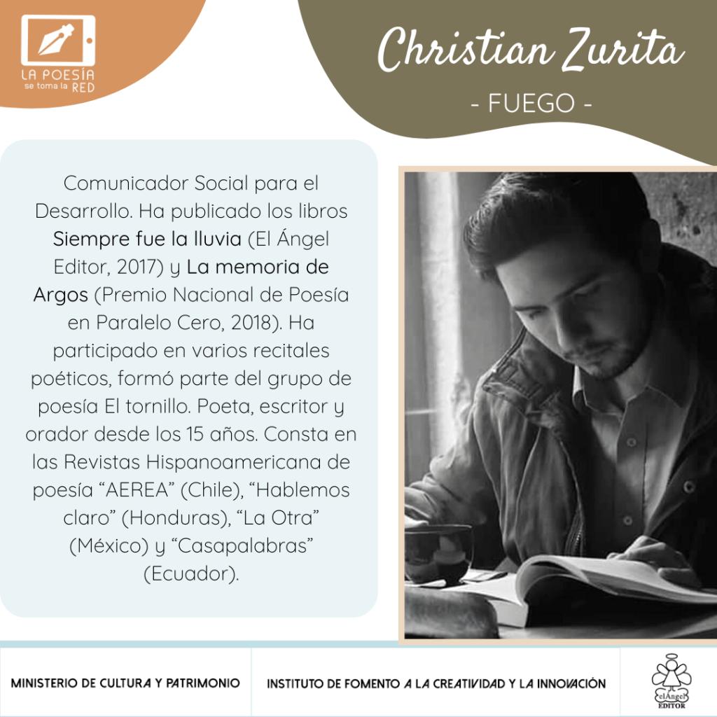 """Cristian Zurita, poeta que participa en """"La poesía se toma la red"""", con un texto para la antología """"De repente, la vida"""""""