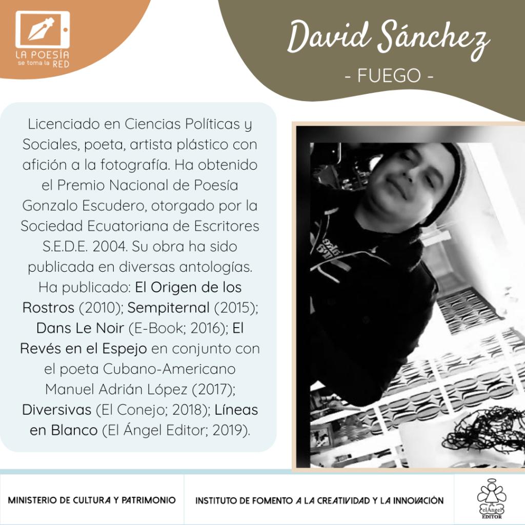 """David Sánchez, poeta que participa en """"La poesía se toma la red"""", con un texto para la antología """"De repente, la vida"""""""